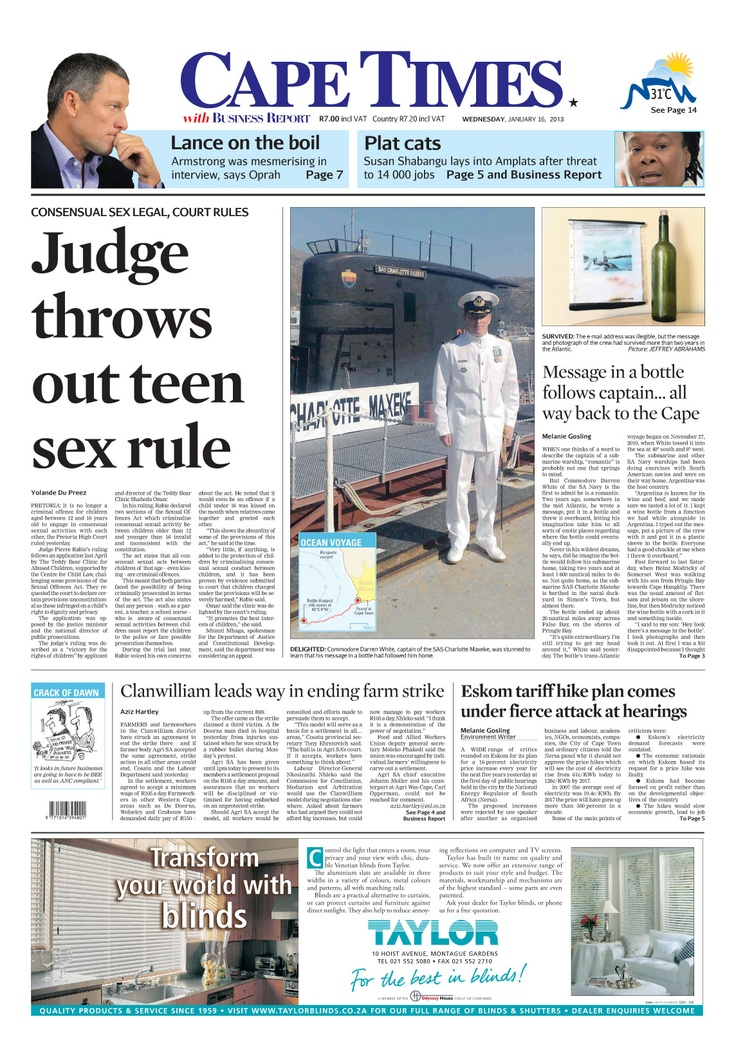 News making headlines: Judge throws out teen sex rule