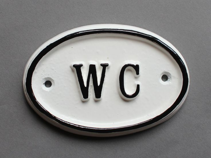 French WC Shabby Chic Toilet Door Sign   Vintage Antique Style Loo Bathroom  Water Closet Old Sign White U0026 Black Cast ~