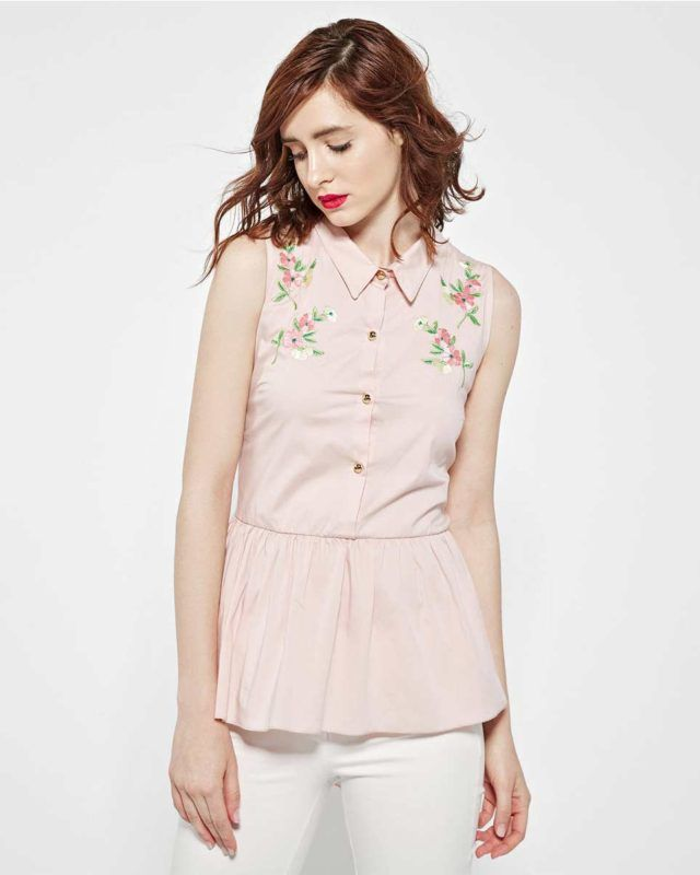SLEEVELESS EMBROIDERED #SHIRT