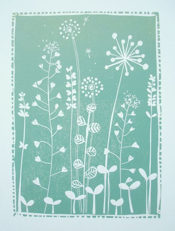 linocut relief print by Josephine Gomersall designs