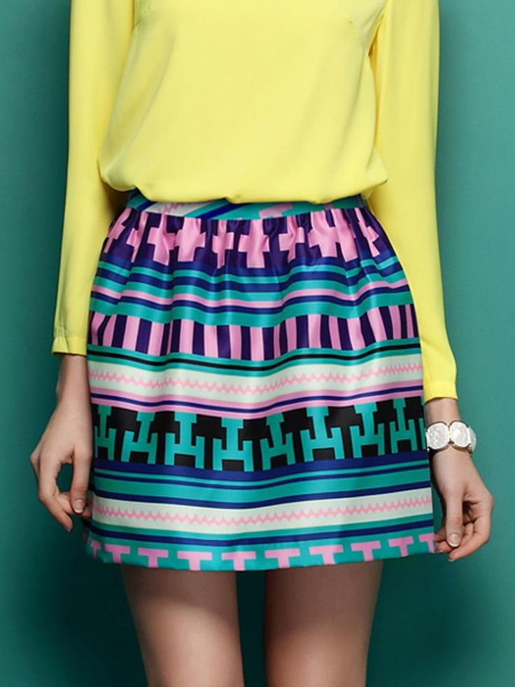 Green Vintage Stripe Mini Skirt - Choies.com