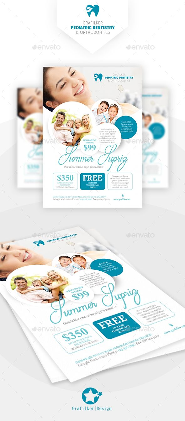 Dentist Flyer Design Templates - Corporate Flyers template PSD, InDesign INDD. D...