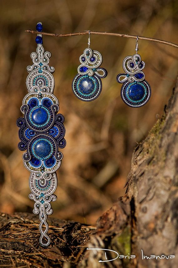 Bracelet and earrings Azure Way soutache by MySoutacheJewelry, $130.00