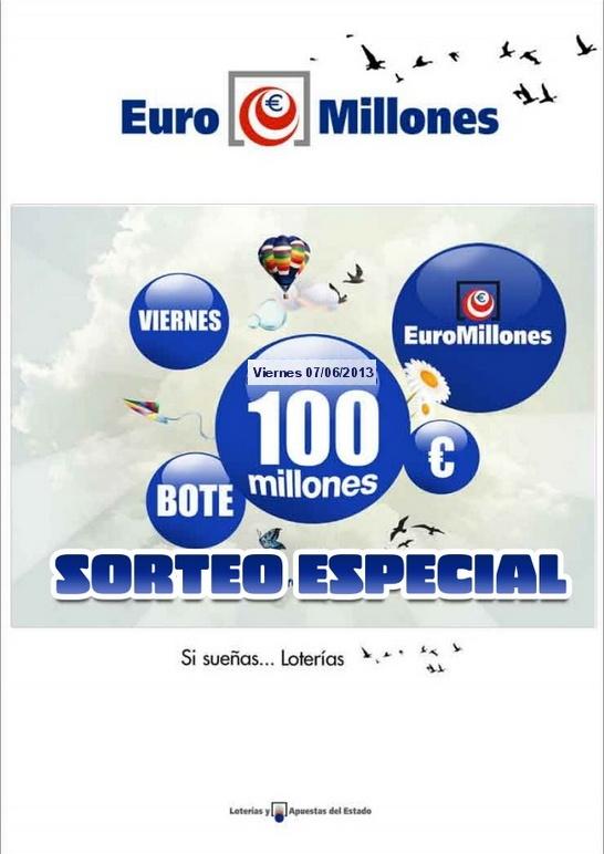 Euromillones, Sorteo especial, Bote 100 Millones €, Viernes 07/06/2013