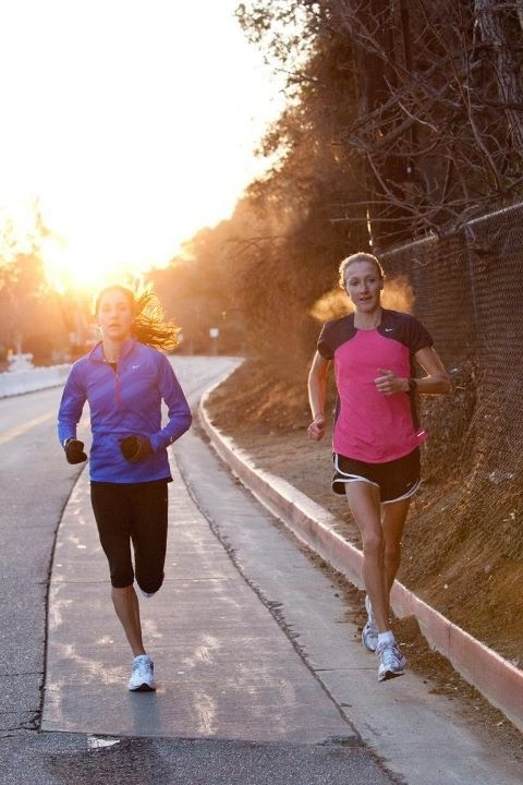 Kara Goucher and Paula Radcliffe out for a run in LA before a day on set for Nike Running