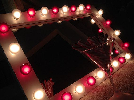 Lighted makeup vanity mirror called Frosted White by WoodUBeMine