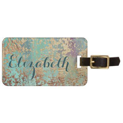Mongram Elegant Classy Chic Faux Gold Flecks Luggage Tag | Zazzle.com