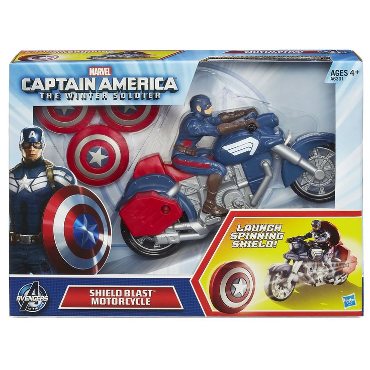 Moto figurine Capitaine America. 26.99$ Achetez-le info@laboiteasurprisesdenicolas.ca 450-240-0007