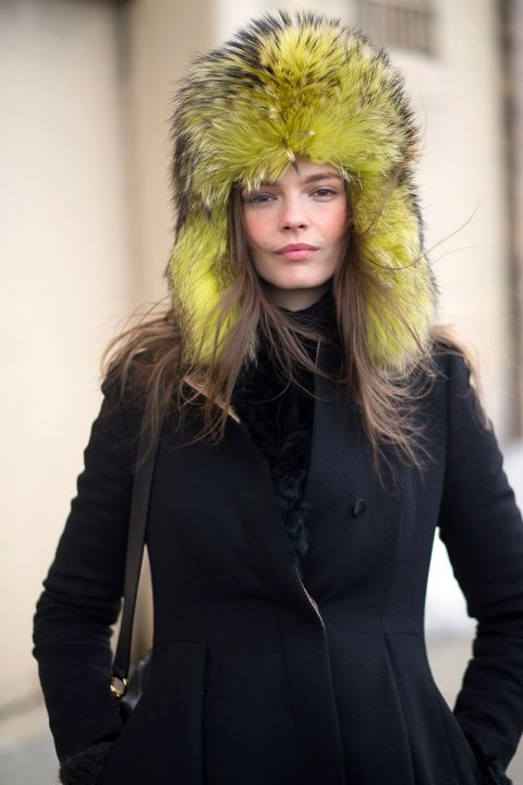 Latest Fashion Week Street Style. Love the colour of Mina Cvetkovic's hat! New York Fashion Week Fall 2015 #nyfw