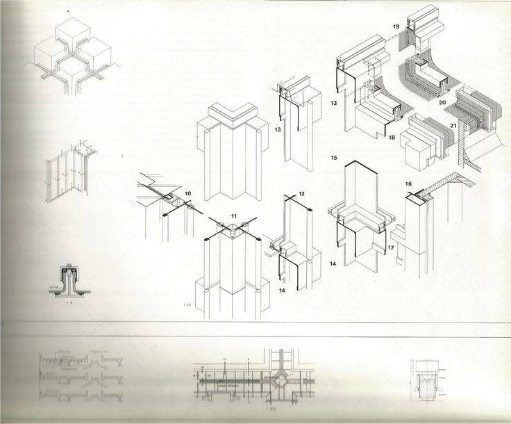 Details of outer skin of building, roof drainage channel and outlet -- Assembly of facade. Corner detail of building unit -- Ventilation diagram with roof vent at junction of roof drainage channels // Centraal Beheer Office Buildings Apeldoorn (NL) -- 1968-72, 1990-95