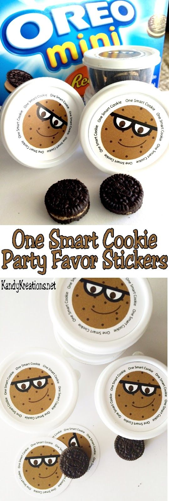 """Tell your kids and students they are One Smart Cookie to start the School year off on a sweet foot! These 2 inch printable stickers have a fun chocolate chip cookie face with the greeting """"One Smart Cookie"""" around the outside allowing you to create easy party favors for your next Back to School party."""