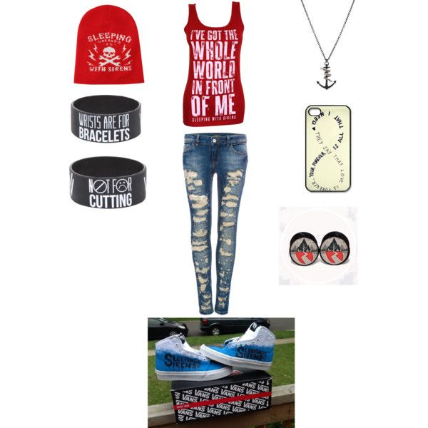 Sleeping with sirens. I'd only do the shirt, jeans and bracelet with some vans.