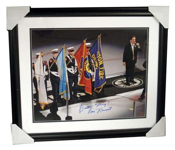 Autographed Rene Rancourt 16X20 framed photo inscribed Boston Strong. Sports Images is giving ALL the profits and more and this event