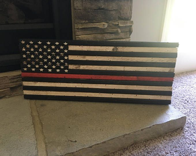"9""x 22"" Small Rustic Thin Red Line Flag"