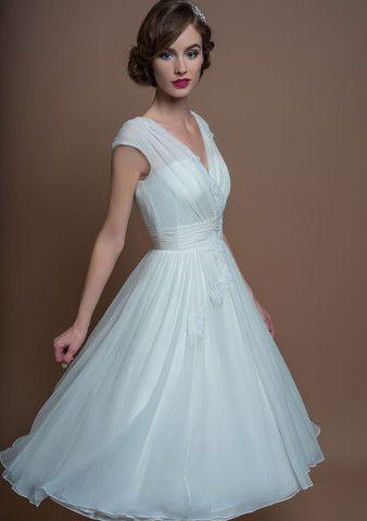 Vintage Bride ~ Tea length full pleated silk chiffon dress with vintage inspired trim from FairyGothMother ~ #vintagebride #vintageinspiration