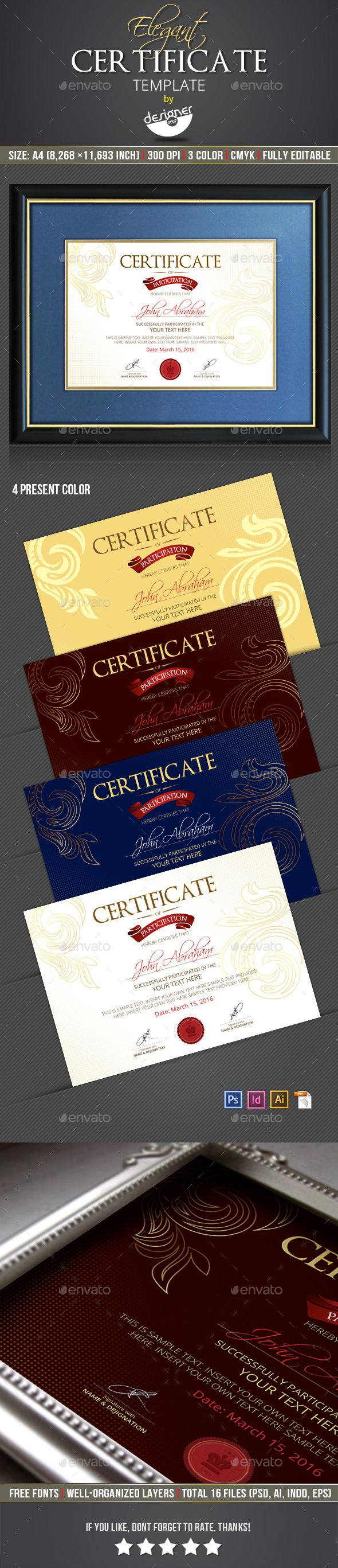 Elegant Certificate Template - Certificates Stationery Template PSD, InDesign INDD, Vector EPS, AI Illustrator. Download here: http://graphicriver.net/item/elegant-certificate-template/16816391?ref=yinkira