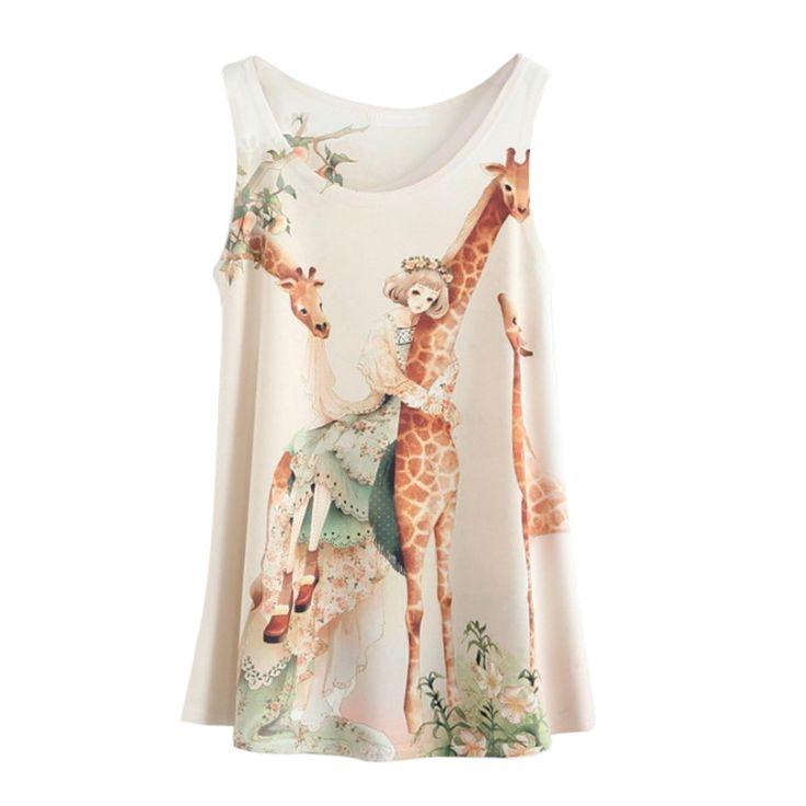 FS Hot Women Giraffe Cartoon Pattern Printing Ladies Tank Top Sexy Tops For Women Camisole Loose Vest
