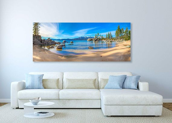 ~~~~ MEMORIAL DAY SALE now thru 5/31! 15% off all framed and unframed prints, metal prints and canvas gallery wraps. No coupon code necessary, prices already reduced ~~~~     This large fine art panorama photograph of Lake Tahoe was captured at a small cove at Sand Harbor located in Nevada on serene summer afternoon.  Title: Tahoe Bliss  We offer museum grade limited edition prints and canvas gallery wraps photographed by Susan Taylor made to order printed on very high quality canvas and...