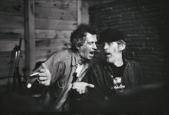 Keith Richards (Stones) and Levon Helm (The Band), at Woodstock (NY) - photo by © Jim Herrington.