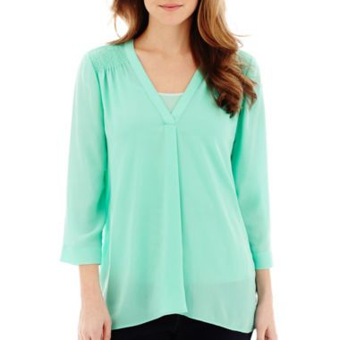 a.n.a® 3/4-Sleeve Smocked Shoulder Blouse found at @JCPenney