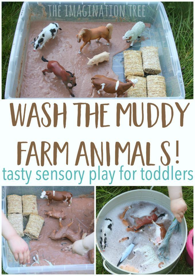 Wash the muddy farm animals sensory play for babies, toddlers and preschoolers! This is taste-safe and so much fun for messy play times!