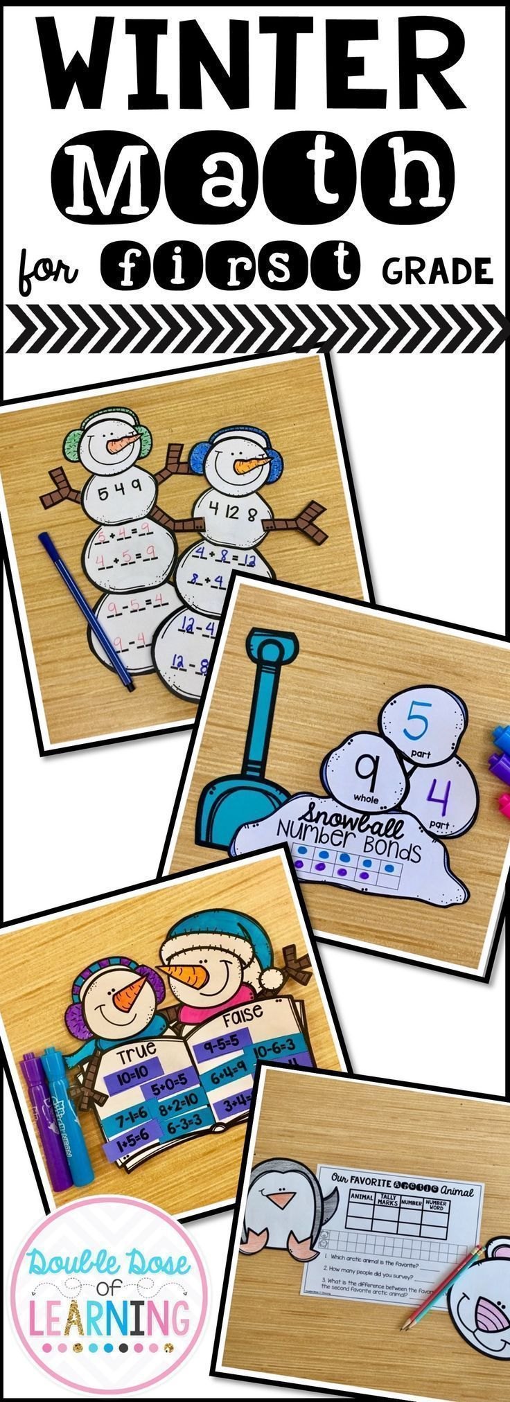 Enhance your first grade students ability to demonstrate operations and algebraic thinking skills during the winter season by incorporating snowman/snow interactive extensions to your lessons with craftivities or math art. Skills include fact families, graphing, ten frame number bonds and true or false equations. The concepts you will find within this resource are aligned to the common core standards for first grade.