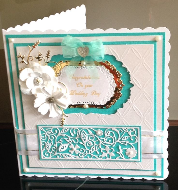 Wedding card using embossing folder and dies
