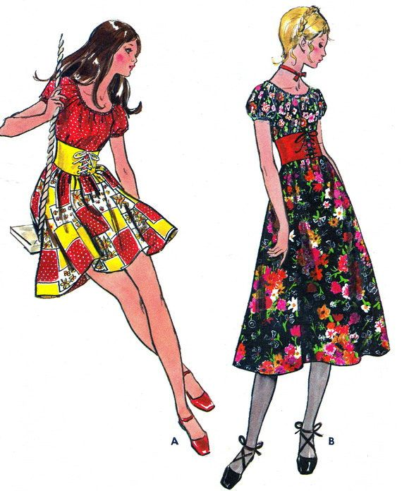1970s Dress Pattern Butterick 6036 Boho Raglan Sleeve Corseted Dress Womens Vintage Sewing Pattern Bust 32
