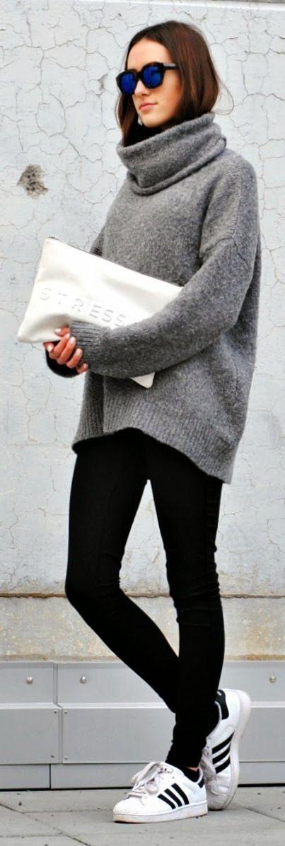 Grey Knit Xxl Turtleneck