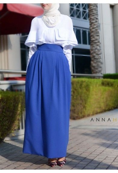 Blue Maxi Skirts Outfit Ideas