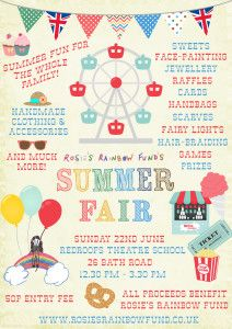 Rosies Rainbow Fund Summer Fair, July 22nd at Redroofs Theatre School Maidenhead