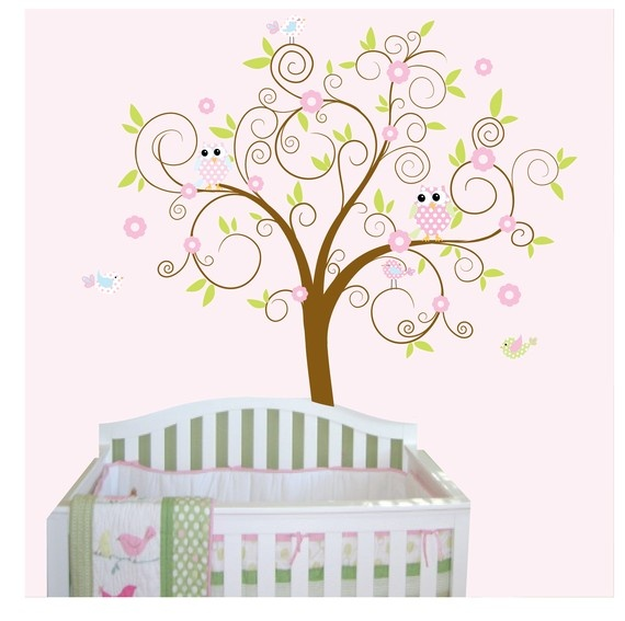 Curl Branch tree with OwlsBirdsWall Decal Sticker by Modernwalls, $99.00