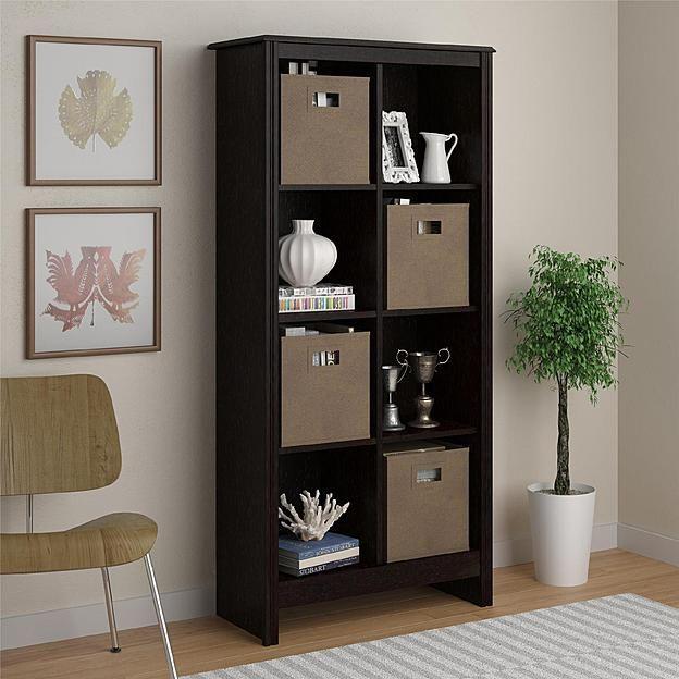 Dorel Home Furnishings 8 Cube Dark Roast Storage Cubby Bookcase With 2  Storage Bins