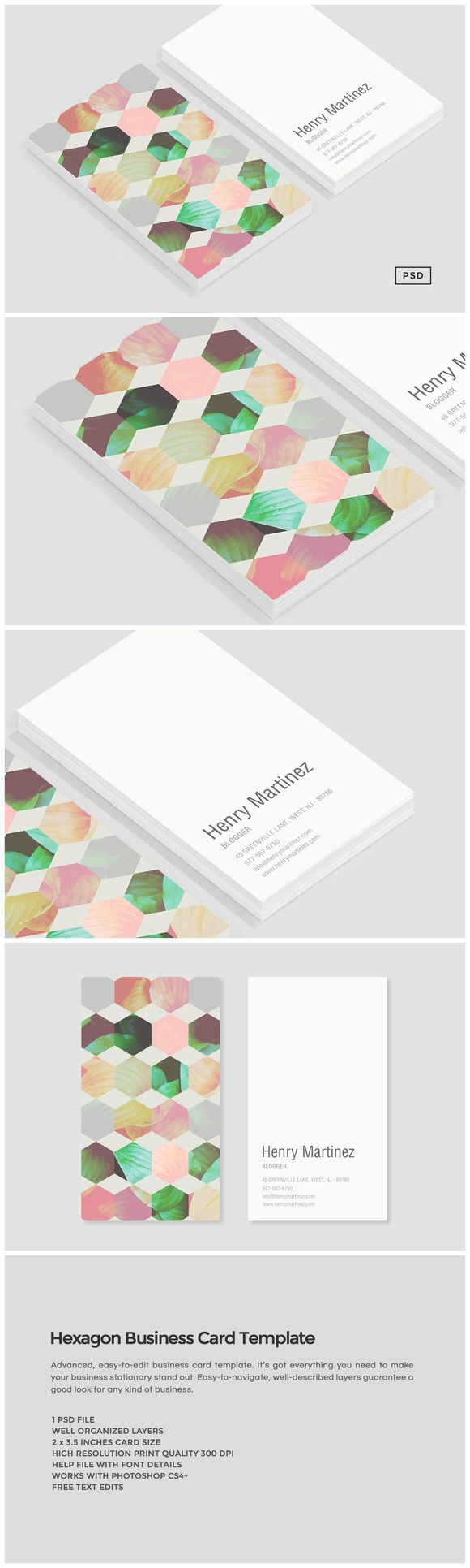 Hexagon Business Card Template by Design Co. on @creativemarket