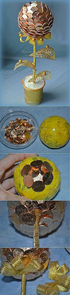 Золотое дерево из монет: мастер-класс с пошаговыми фото.