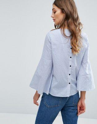 Vero Moda Fluted Sleeve Stripe Blouse