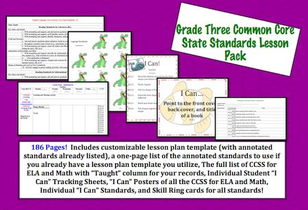This lesson pack contains everything you will need to teach, track, and display the Common Core State Standards.
