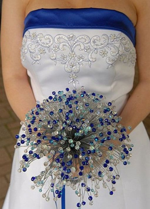 blue beaded crystals - wonder if I could do this in green and silver??