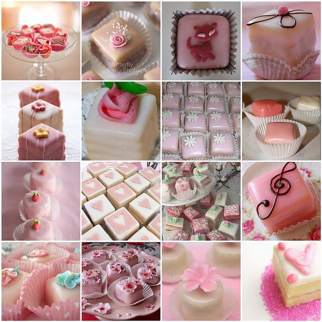 lovely selection of pink petit fours.....getting up the courage to make these!