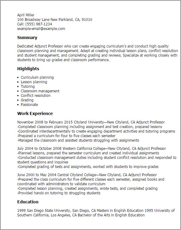 Entry Level Adjunct Professor Resume Awesome Sample Resume For Faculty Position Engineering Adjunct Positive Learning Education Resume College Professor