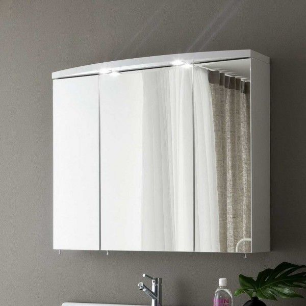 Image Of Captivating Bathroom Medicine Cabinets Ikea With Mirrored Panel Cabinet Doors And Recessed Cabinet Lighting