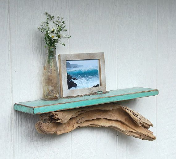Driftwood shelf, distressed teal shelf with driftwood base. $34.95, via Etsy.