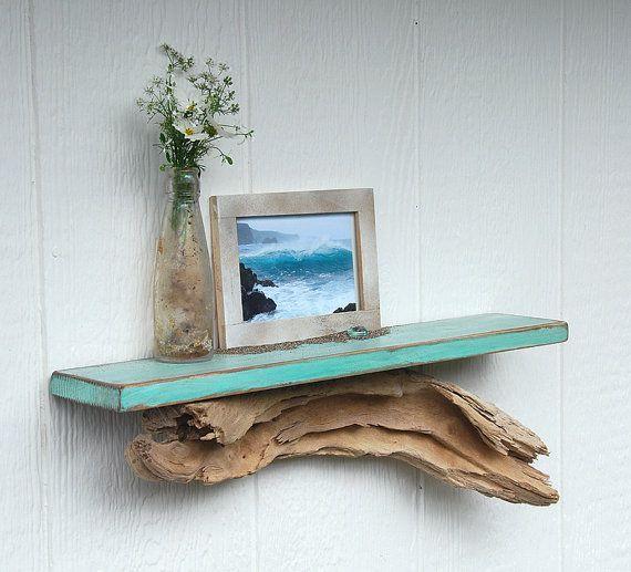 Driftwood shelf, distressed teal shelf with driftwood base. $34.95, via Etsy.