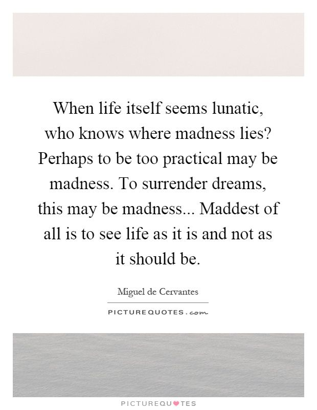"""""""When life itself seems lunatic, who knows where madness lies? Perhaps to be too practical is madness. To surrender dreams — this may be madness. Too much sanity may be madness — and maddest of all: to see life as it is, and not as it should be!"""" ― Miguel de Cervantes Saavedra, Don Quixote"""