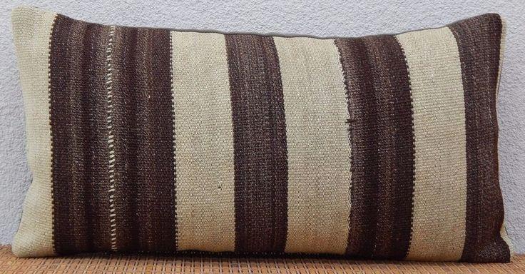24''x12'' Country Decor French Farmhouse Grainsack Cream Wool Kilim Pillow Cover #Handmade #FrenchCountry