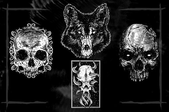 Skull Head Designs by sebrodbrick on @creativemarket