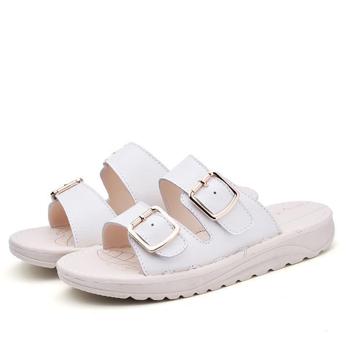 White beach slippers