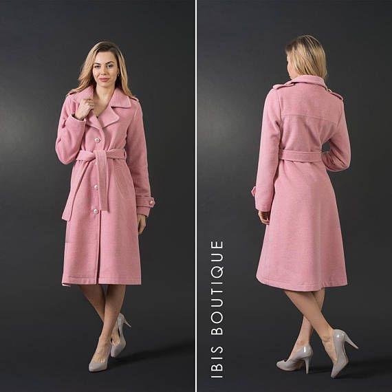 62487288058 Light pink elegant woman winter woman coat, wool jacket, long coat, plus /  large sizes, warm romantic coat, sexy v-neckline coat, lined