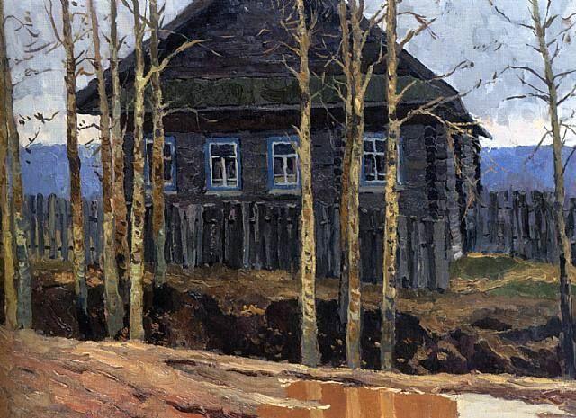 Vladimir F . Stozharov, (1926-1973) A House with Black Poplars , 1972. 19.1 x 27.2 in. 48.5 x 69 cm.