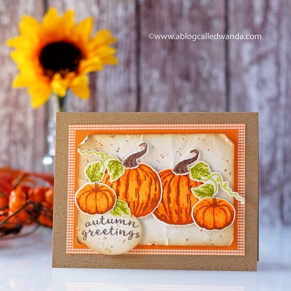 Layering Pumpkins Fall card by Wanda Guess - September 2017 My Monthly Hero kit